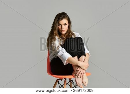 Female Beauty And Fashion. Hairdresser Beauty Salon. Elegant Fashion Model. Girl Wear Office Shirt A