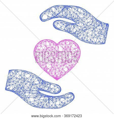 Web Mesh Favourite Heart Care Hands Vector Icon. Flat 2d Carcass Created From Favourite Heart Care H