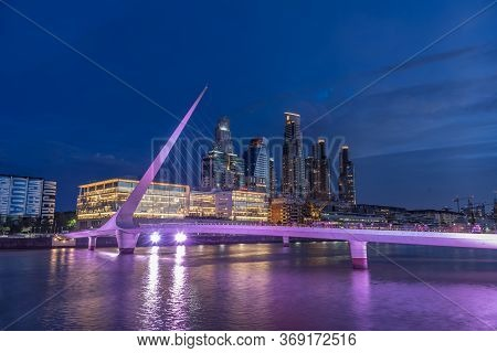 Buenos Aires, Puerto Madero, Argentina - December 8, 2019: Image At Blue Hour Of Puerto Madero.