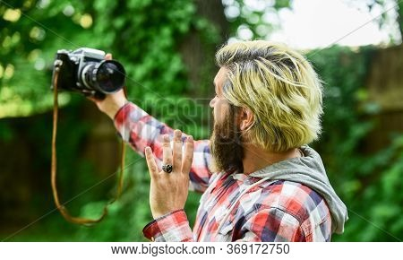 Capture These Memories. Slr Camera. Hipster Man With Beard Use Professional Camera. Selfie Time. Pho