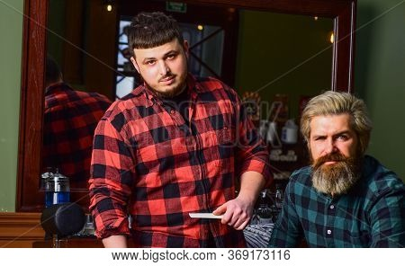 Barber And Hair Stylist Dedicate To Making You Better Looking Person. Hipster Client Getting Haircut