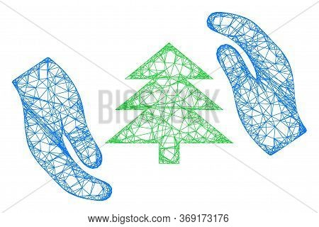 Web Mesh Fir Tree Care Hands Vector Icon. Flat 2d Carcass Created From Fir Tree Care Hands Pictogram