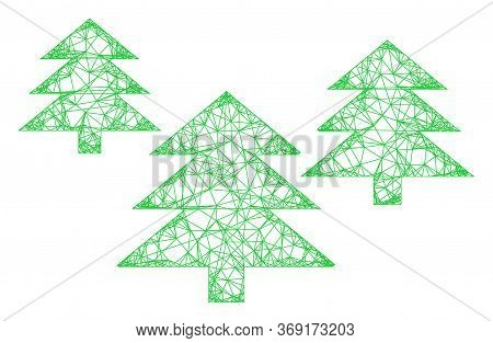 Web Network Fir Tree Forest Vector Icon. Flat 2d Carcass Created From Fir Tree Forest Pictogram. Abs