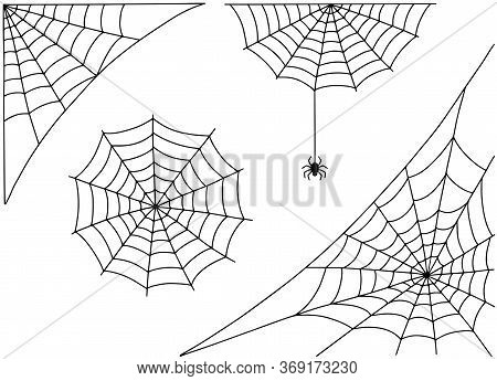 Halloween Spider Web And Spider Isolated On White Background. Hector Venom Cobweb Set.