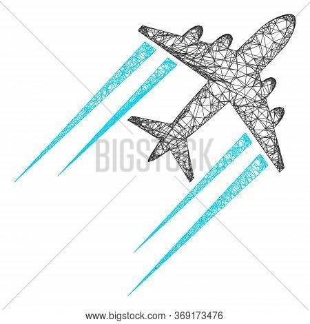 Web Mesh Flying Airplane Trace Vector Icon. Flat 2d Carcass Created From Flying Airplane Trace Picto