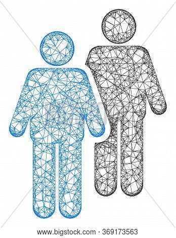 Web Net Gay Persons Couple Vector Icon. Flat 2d Carcass Created From Gay Persons Couple Pictogram. A