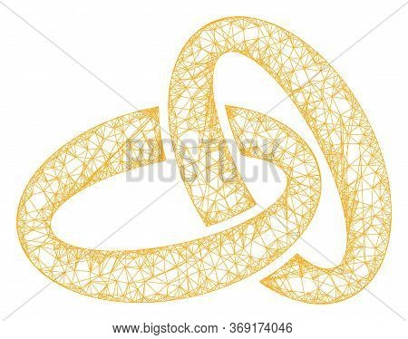 Web Mesh Gold Rings Vector Icon. Flat 2d Carcass Created From Gold Rings Pictogram. Abstract Carcass