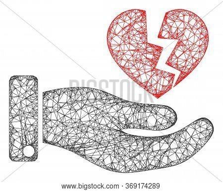 Web Mesh Hand Offer Broken Heart Vector Icon. Flat 2d Carcass Created From Hand Offer Broken Heart P