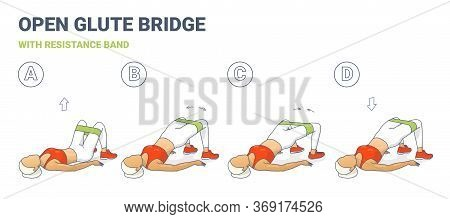 Open Glute Bridge With Resistance Band Girl Home Workout Exercise Colorfull Concept.