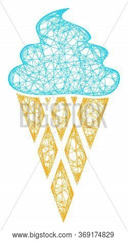 Web Mesh Icecream Vector Icon. Flat 2d Carcass Created From Icecream Pictogram. Abstract Carcass Mes