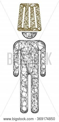 Web Mesh Idiot Man Vector Icon. Flat 2d Carcass Created From Idiot Man Pictogram. Abstract Carcass M
