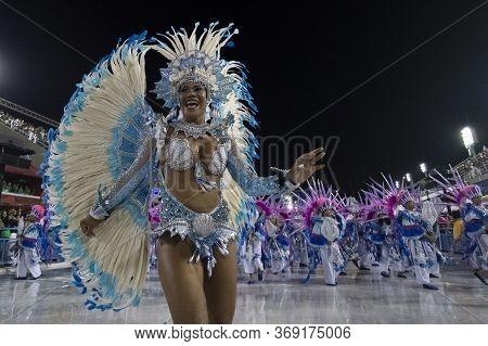 Rio, Brazil - February 22, 2020: Parade Of The Samba School Academicos Do Sossego, At The Marques De