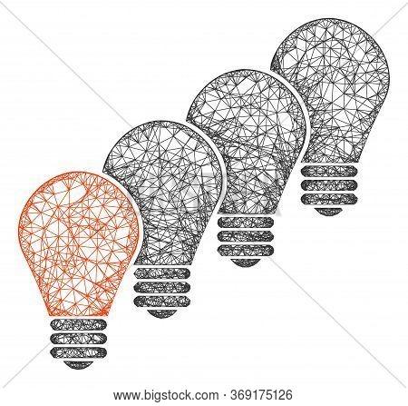 Web Mesh Lamp Bulbs Vector Icon. Flat 2d Carcass Created From Lamp Bulbs Pictogram. Abstract Carcass