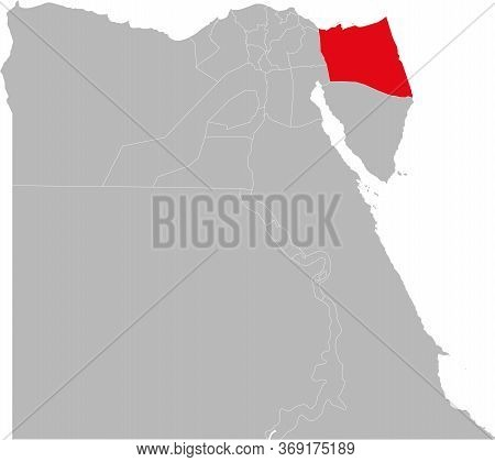 North Sinai Governorate Highlighted On Egypt Map. Business Concepts And Backgrounds.