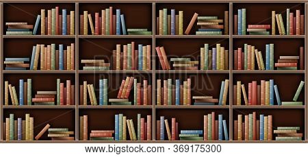 Bookshelf Background, Books On Shelf In Library, Home, School Or Office Interior. Volumes With Color