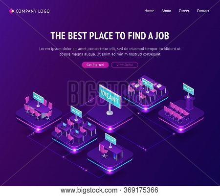 Find Job, Hiring Agency Isometric Landing Page, Vacant Places In Office. Hiring Human Resources, Job
