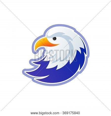Eagle Logo Vector Template - Usa Bald Eagle Head Colorful Illustration - Eagle Isolated On White Bac