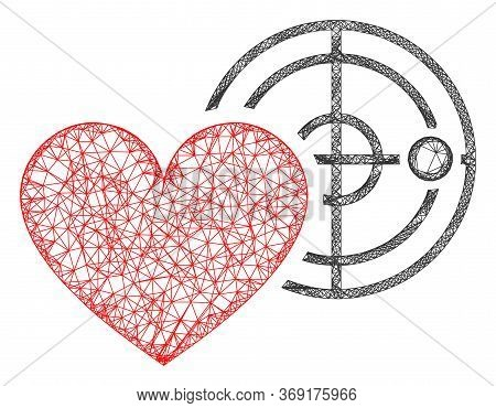 Web Mesh Love Heart Radar Vector Icon. Flat 2d Model Created From Love Heart Radar Pictogram. Abstra
