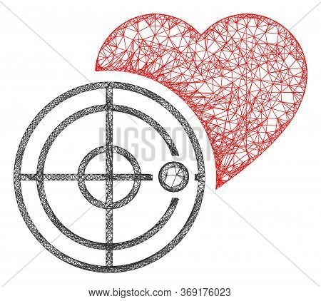 Web Mesh Love Heart Radar Vector Icon. Flat 2d Carcass Created From Love Heart Radar Pictogram. Abst