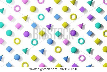 Colorful Retro Memphis Pattern Style Flat Lay Background Texture From Geometric Primitives, Flat Lay