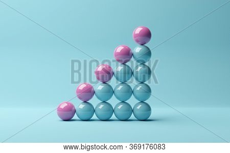 Pink Spheres On Rising Bar Graph Of Blue Spheres On Blue Background, Abstract Modern Minimal Success