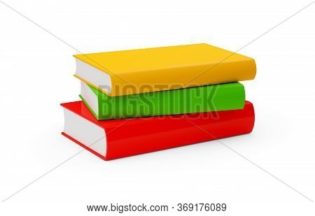 Orange, Red, And Green Hardcover Books With Blank Covers Stacked Over White Background, Reading Or E