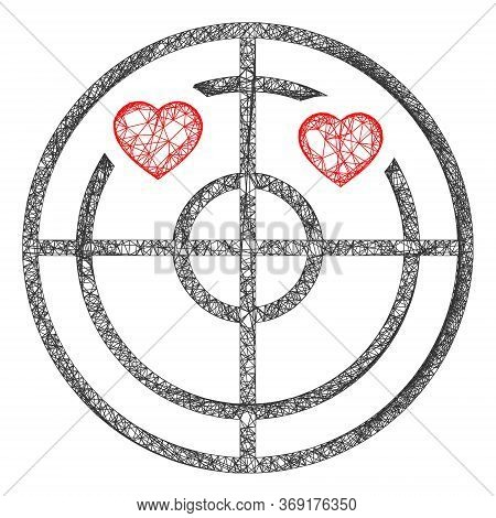 Web Mesh Love Hearts Radar Vector Icon. Flat 2d Model Created From Love Hearts Radar Pictogram. Abst