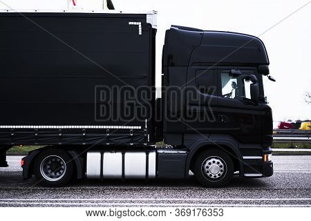 Cargo Automobile For International Transportation. Mock Up Freight Vehicle Of Commercial Trade