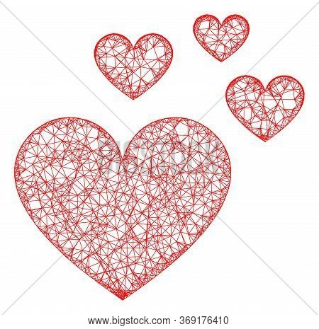 Web Mesh Love Hearts Vector Icon. Flat 2d Model Created From Love Hearts Pictogram. Abstract Frame M