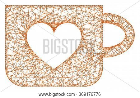 Web Mesh Lovely Cup Vector Icon. Flat 2d Model Created From Lovely Cup Pictogram. Abstract Frame Mes