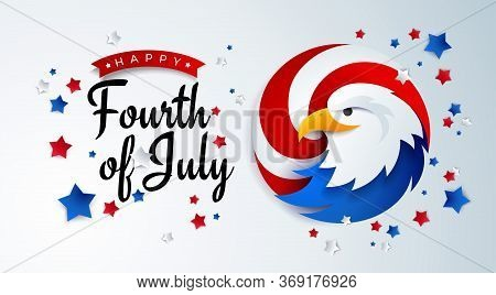 Fourth Of July Background - American Independence Day Vector Illustration With The Usa Bald Eagle -