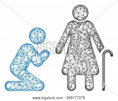 Web Network Man Pray For Grandmother Vector Icon. Flat 2d Carcass Created From Man Pray For Grandmot