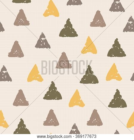 Simple Vector Pattern With Hand Drawn Triangles On Creamy Background