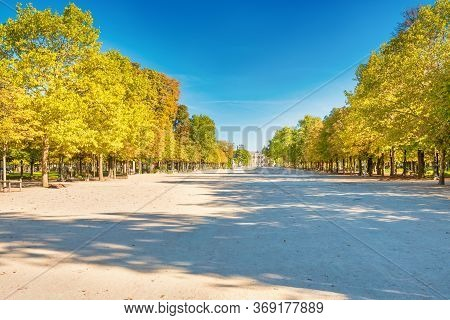 Empty Tuileries Garden Park In Paris With No Walking People During Quarantine Coronavirus At Summer