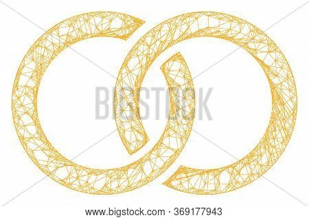 Web Mesh Marriage Rings Vector Icon. Flat 2d Carcass Created From Marriage Rings Pictogram. Abstract