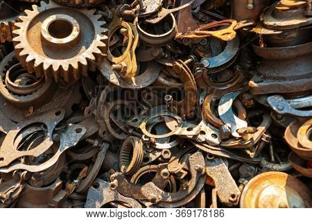 Old Rusty Metal Scrap, Used Machine Spares And Car Parts Can Be Used As Mechanic Industrial Backgrou