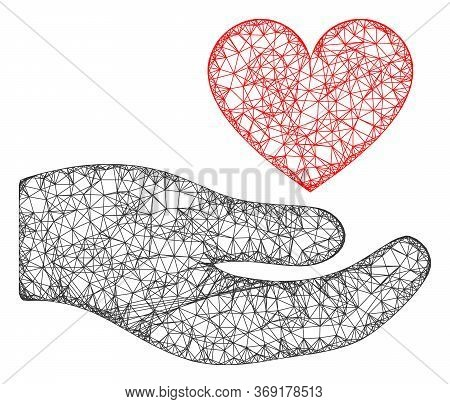 Web Mesh Palm Offer Love Heart Vector Icon. Flat 2d Carcass Created From Palm Offer Love Heart Picto