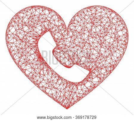 Web Net Phone Heart Vector Icon. Flat 2d Carcass Created From Phone Heart Pictogram. Abstract Carcas
