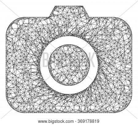 Web Network Photocamera Vector Icon. Flat 2d Carcass Created From Photocamera Pictogram. Abstract Ca
