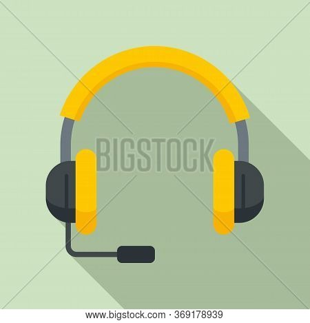 Lesson Headset Icon. Flat Illustration Of Lesson Headset Vector Icon For Web Design