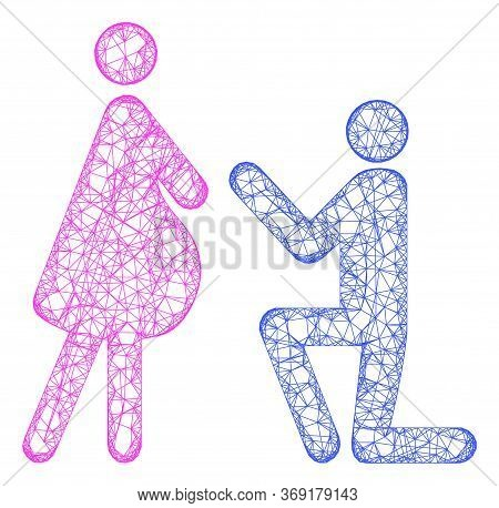Web Mesh Pregnant Woman Engagement Vector Icon. Flat 2d Carcass Created From Pregnant Woman Engageme