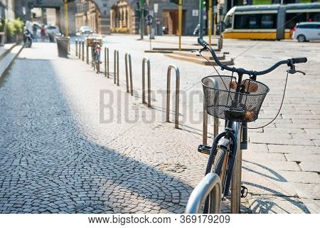 Bicycle Parked On City Street