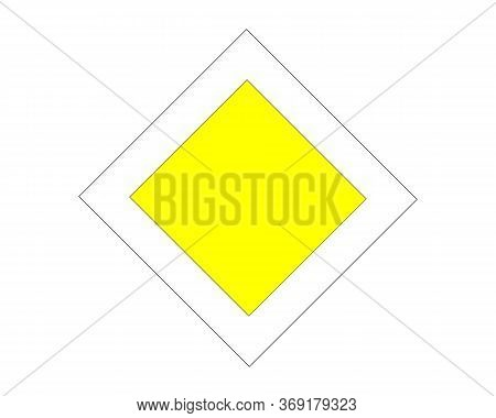 Traffic Sign Main Road White Background. Main Road Sign Vector Illustration Isolated On White. Sign