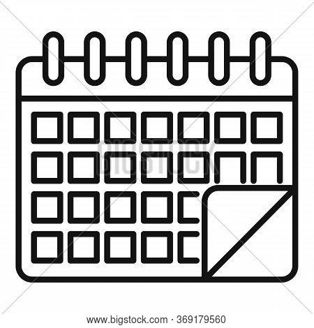 Lesson Calendar Icon. Outline Lesson Calendar Vector Icon For Web Design Isolated On White Backgroun