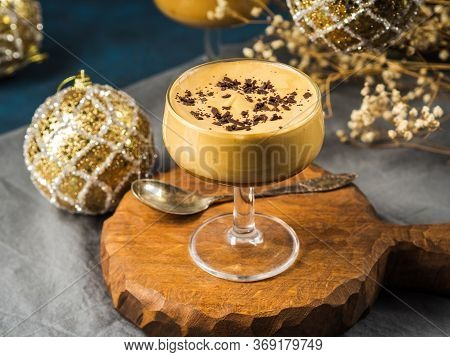Frappe Frothed Cold Coffee Drink In Dessert Stemmed Glasses On Brown Wooden Board. Christmas Dessert