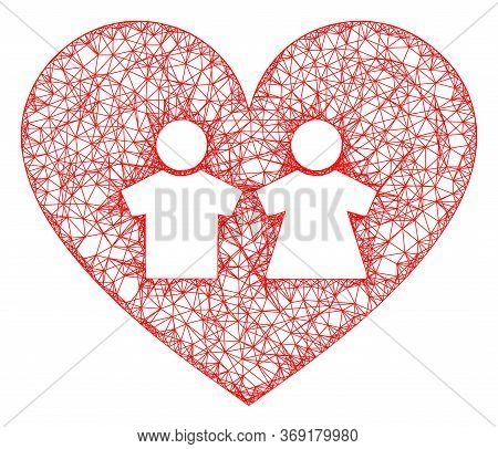 Web Net Romantic Heart Vector Icon. Flat 2d Carcass Created From Romantic Heart Pictogram. Abstract