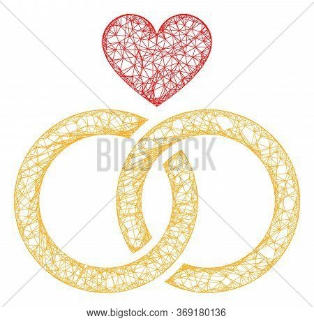 Web Mesh Romantic Rings Vector Icon. Flat 2d Carcass Created From Romantic Rings Pictogram. Abstract