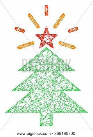 Web Mesh Shine Christmas Tree Vector Icon. Flat 2d Carcass Created From Shine Christmas Tree Pictogr