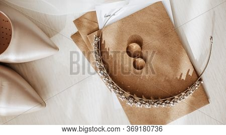 Wedding Details. Diadem With Diamonds, Rings Of The Bride And Groom, Veil, Shoes, Invitation, Letter