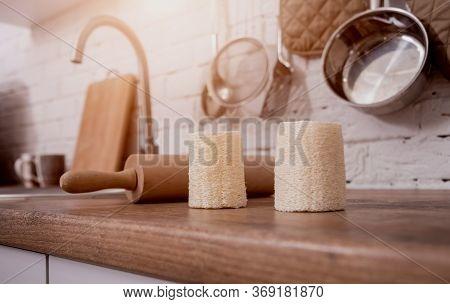 Bamboo Natural Eco Washcloths. Zero Waste Concept.